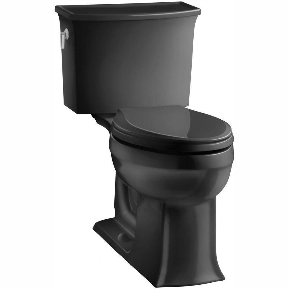 Archer Comfort Height 2-piece 1.28 GPF Single Flush Elongated Toilet with AquaPiston Flushing Technology in Black Black