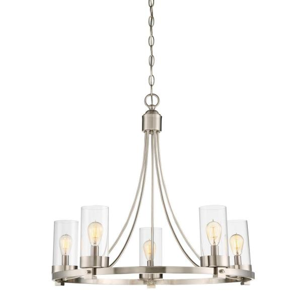 5-Light Brushed Nickel Chandelier with Clear Glass Shade