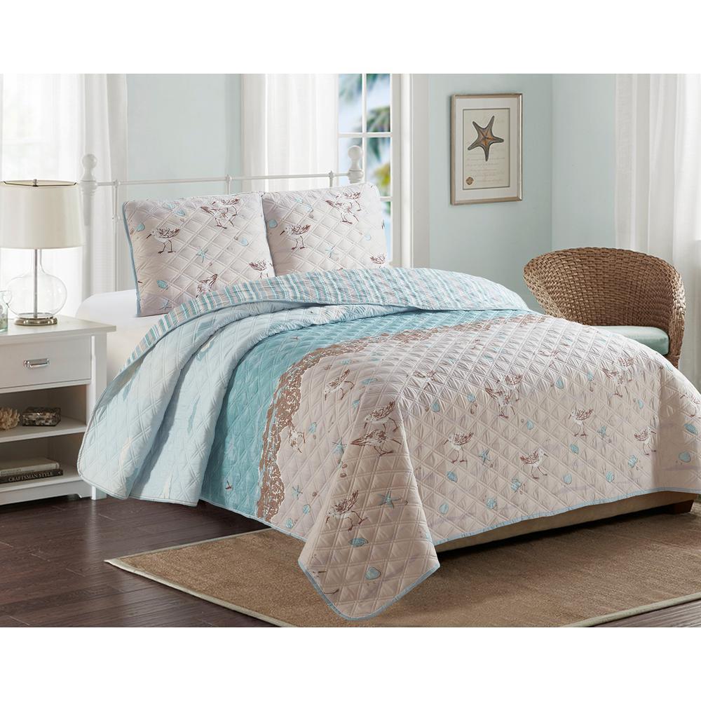 5-Piece Beige Sandpiper Coastal King Comforter Set