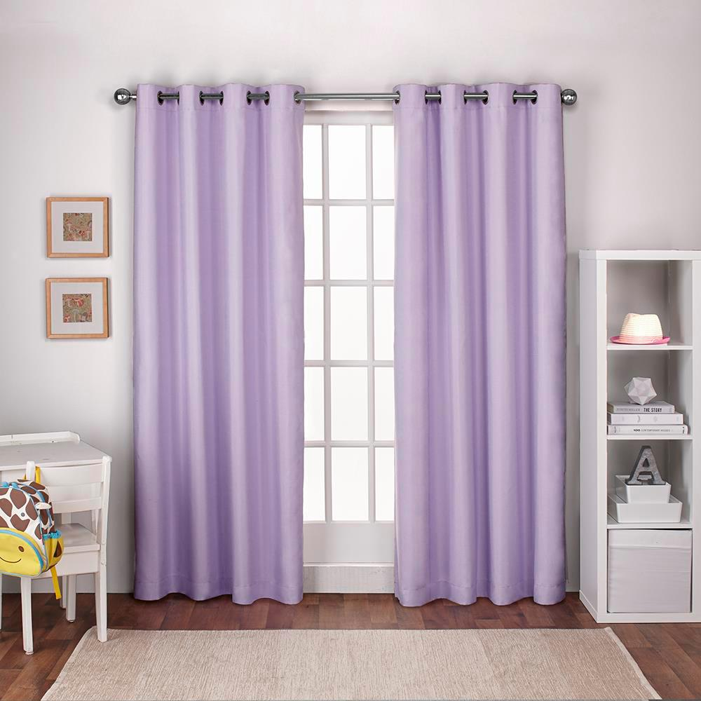 Textured Linen Lilac Purple Thermal Grommet Top Window Curtain
