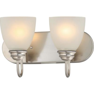 Mari 2-Light Indoor Brushed Nickel Bath or Vanity Light Bar or Wall Mount with White Frosted Glass Bell Shades