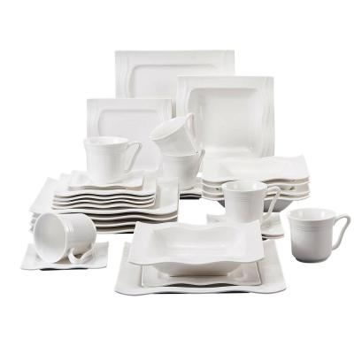 MARIO 30-Piece White Porcelain Dishes Dinnerware Set Plates Cups and Saucer Set (Service for 6)