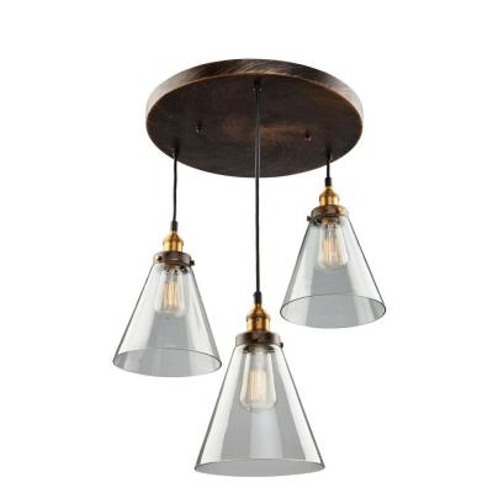 Merignac 3-Light Copper and Multi-Tone Brown Multi-Light Pendant