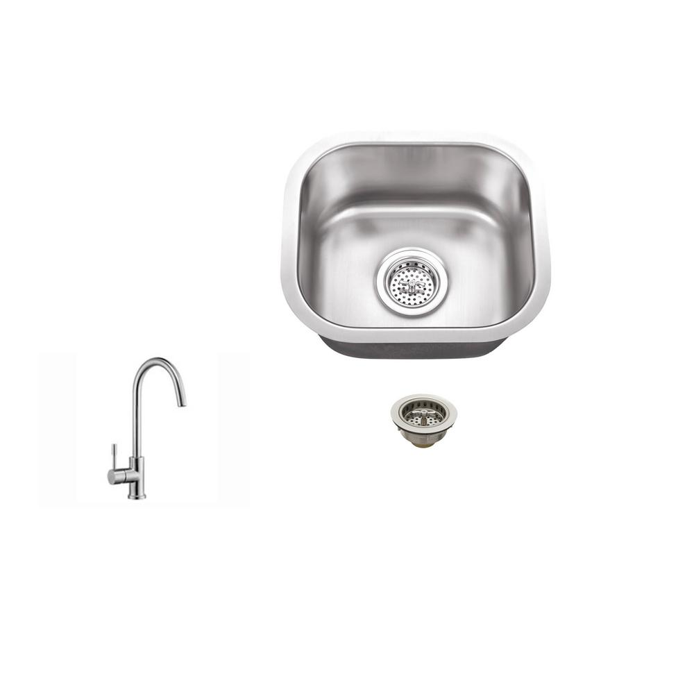 IPT Sink Company Undermount Stainless Steel 15 In. 18 Gauge Bar Sink In  Brushed Stainless With Gooseneck Kitchen Faucet IPTSBSP805   The Home Depot