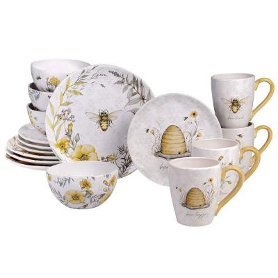 Bee Sweet 16-Piece Seasonal Multicolored Earthenware Dinnerware Set (Service for 4)