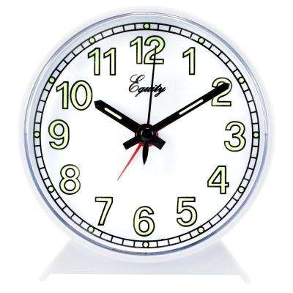 Analog 4 in. Round Keywind White Alarm Clock