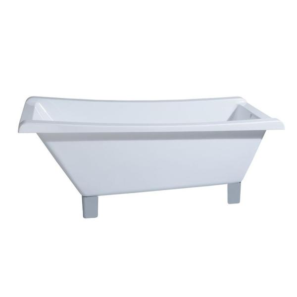 Modern 5.6 ft. Acrylic Slipper Clawfoot Non-Whirlpool Bathtub in White with Square Feet in Chrome