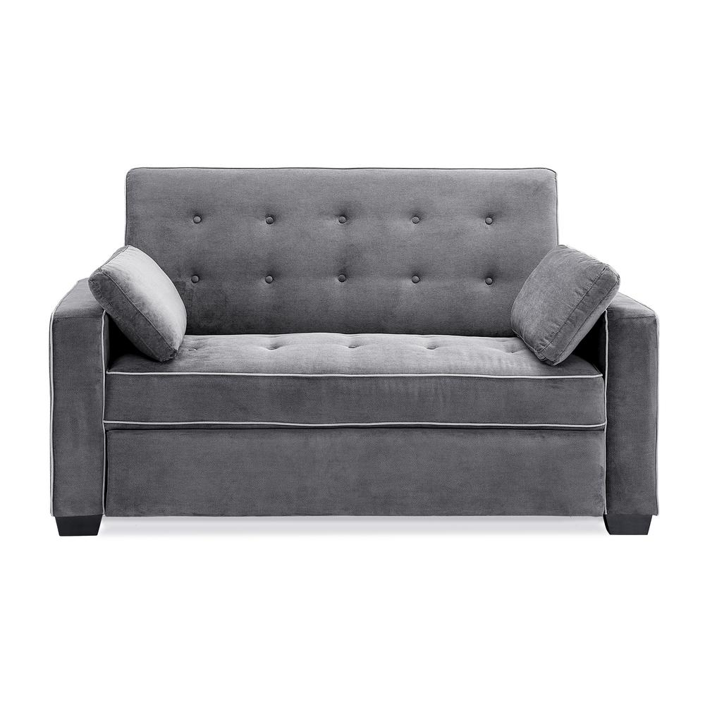 Serta Augustus Microfiber Convertible Sofa Queen Size Bed In Grey