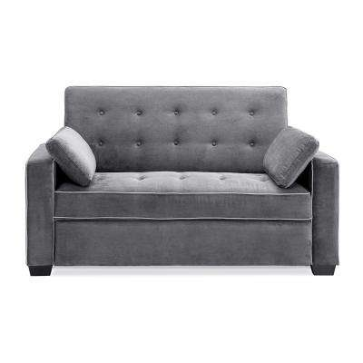 Augustus Microfiber Convertible Sofa Queen Size Bed In Grey
