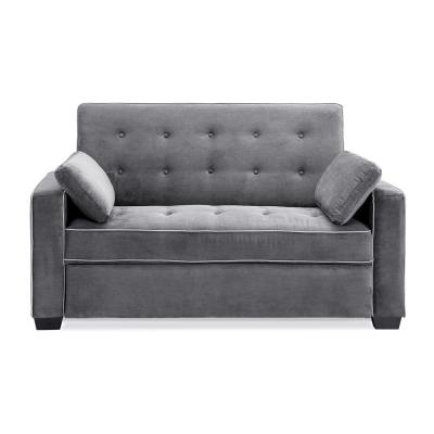 Augustus 38 in. Gray Linen 2-Seater Queen Sleeper Convertible Sofa Bed with Square Arms