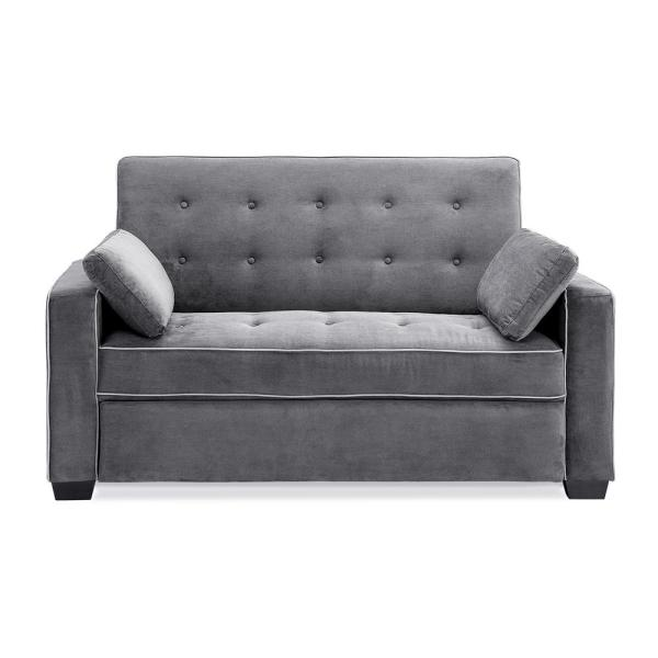 Serta Augustus Microfiber Convertible Sofa, Queen Size Bed in Grey