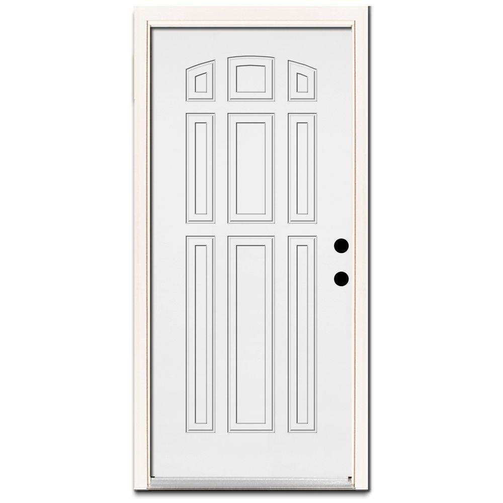 Steves & Sons Premium 9-Panel Steel Primed White Prehung Front Door With Brickmold-DISCONTINUED