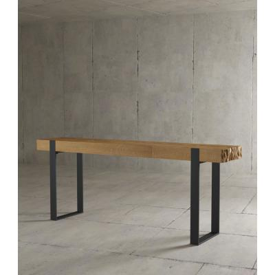 Kingsley 55 in. Natural/Black Standard Rectangle Wood Console Table