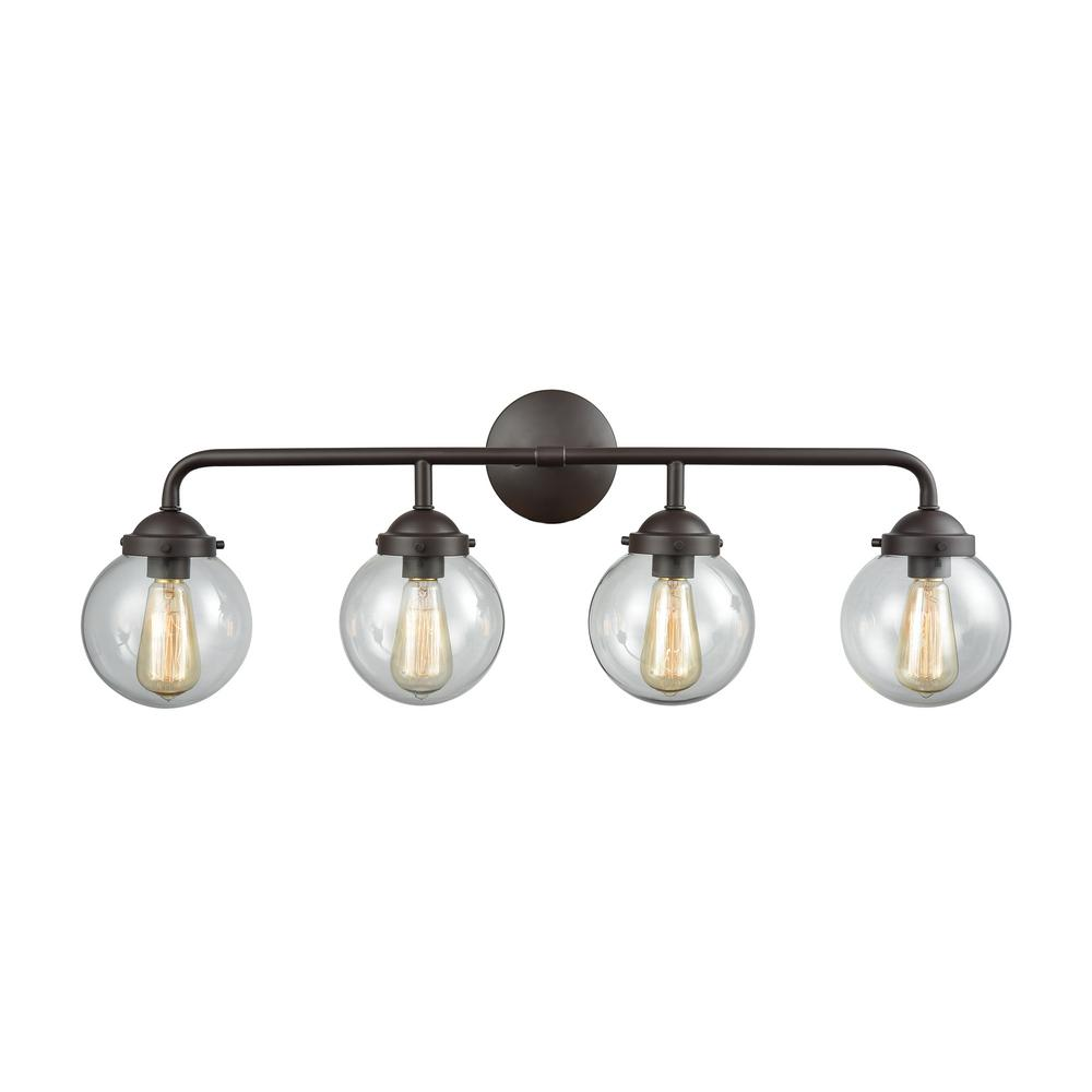 Beckett 4-Light Oil Rubbed Bronze and Clear Glass Bath Light