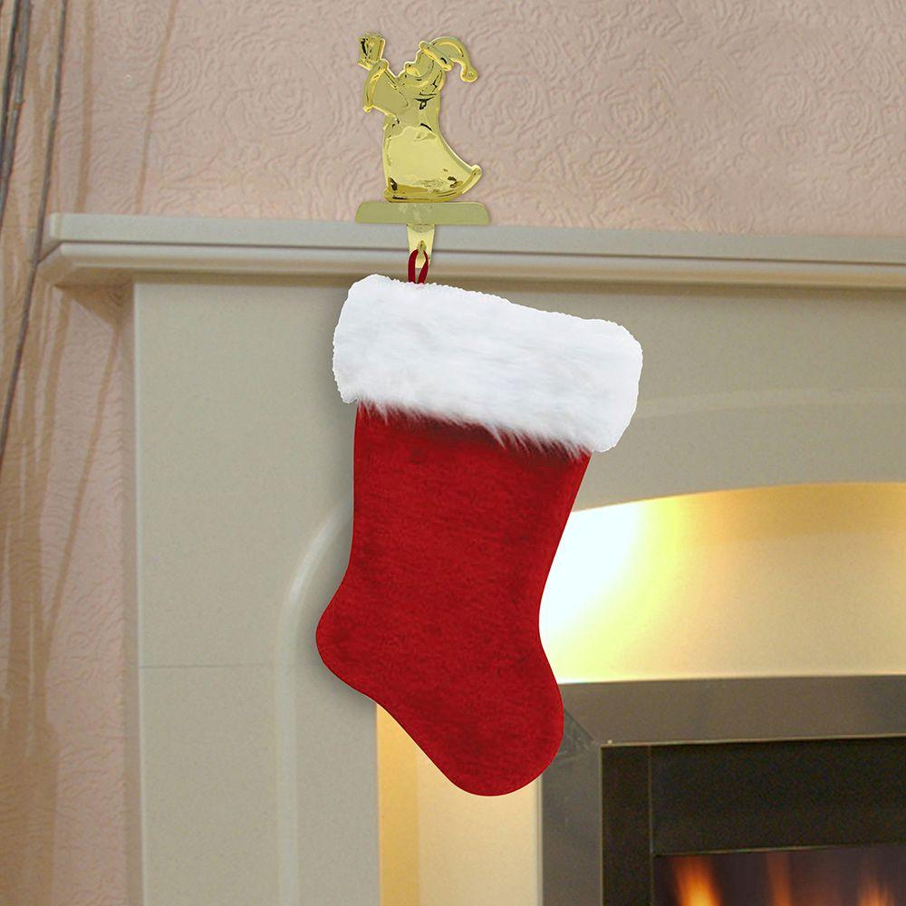 20In Soft Thick Faux Fur Plush Green Christmas Holiday Stocking