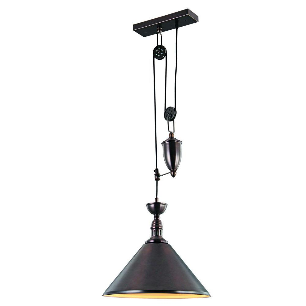 Elegant Lighting Industrial 1 Light Black Pendant Lamp