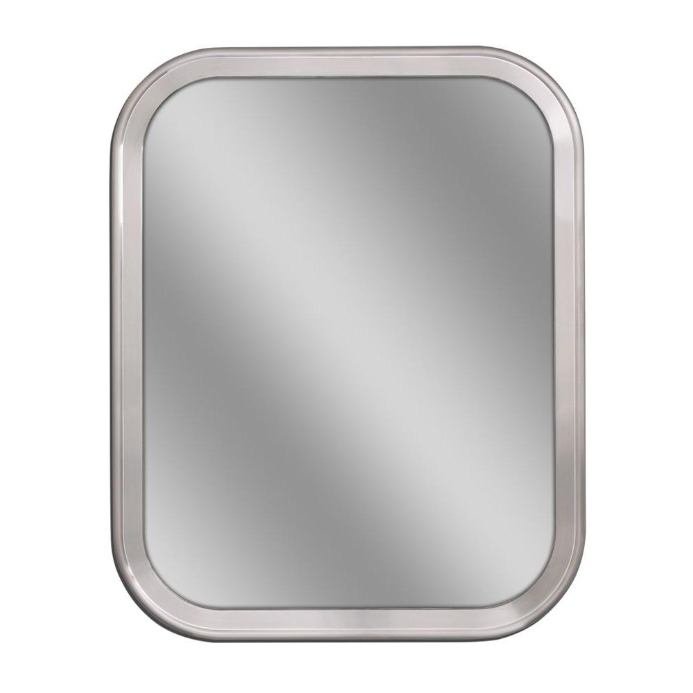 Deco Mirror 24 in. W x 30 in. H Radius Corner Metal Framed Wall ...