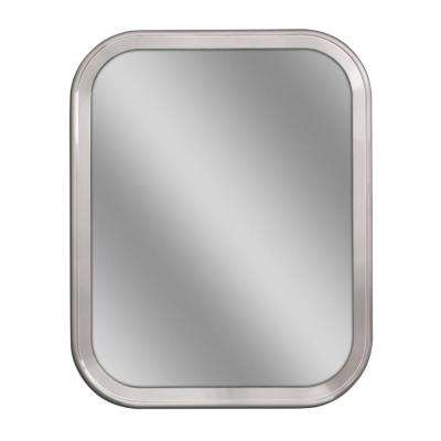 24 in. W x 30 in. H Radius Corner Metal Framed Wall Mirror in Brush Nickel
