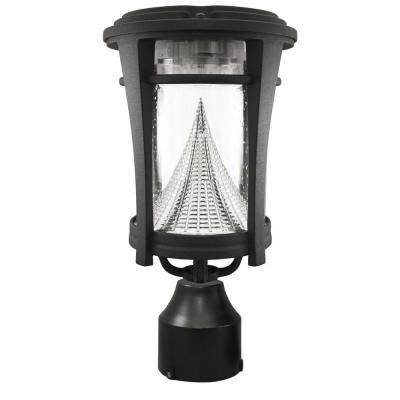 Aurora Single Black Integrated LED Outdoor Solar Lamp with 3-Mounting Options 3 in. Fitter, Pier and Wall Mounts