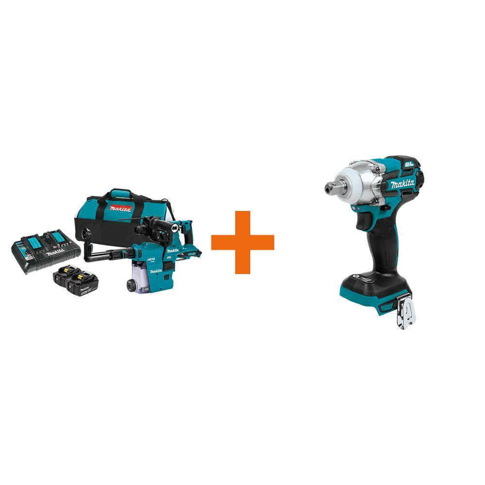 18V X2 LXT 36V 1-1/8 in. Brushless Rotary Hammer Kit 5.0 Ah with Bonus 18V LXT Brushless 3-Speed 1/2 in. Impact Wrench