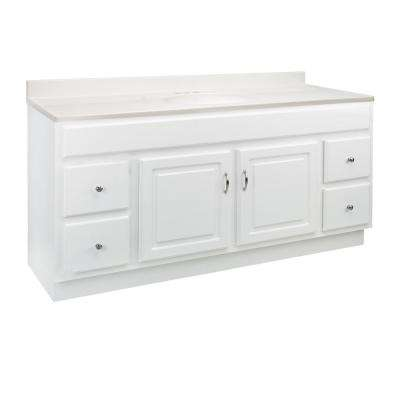 Concord 61 in. x 22 in. x 34.88 in. Bath Vanity in White with White Cultured Marble Vanity Top with Single White Basin
