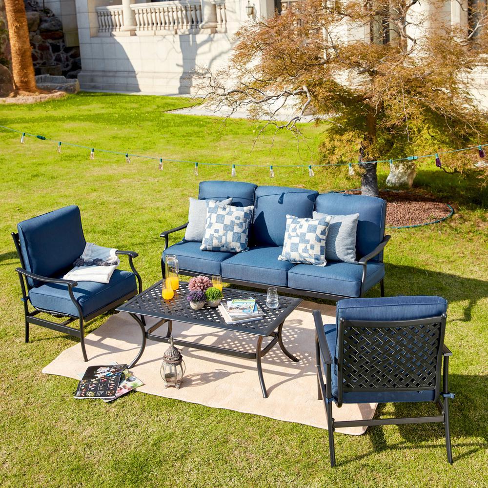 4 Piece Metal Patio Conversation Set With Blue Cushions