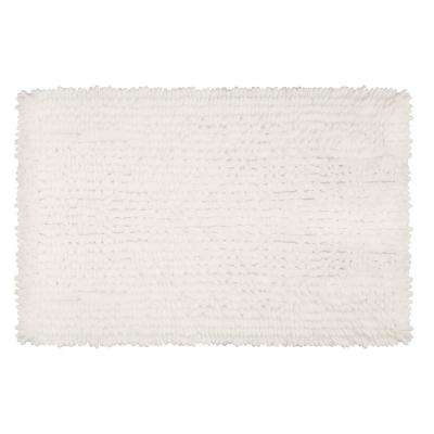 Mega Butter Chenille 27 in. x 45 in. Bath Mat in White