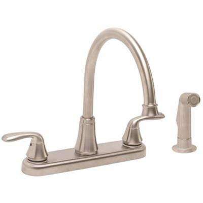 Waterfront 2-Handle Standard Kitchen Faucet with Side Spray in Brushed Nickel