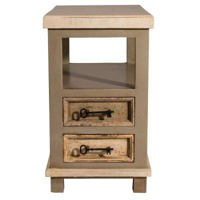 Larose Rustic White and Gray End Table