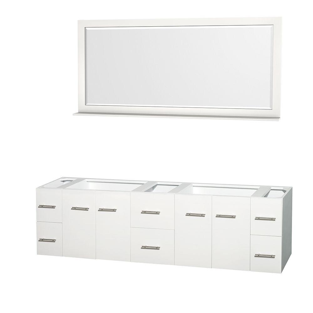 Wyndham Collection Centra 79 in. Double Vanity Cabinet with Mirror in White