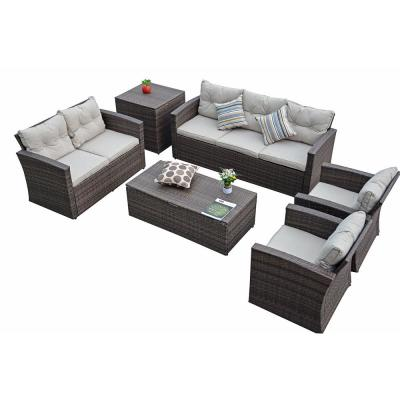 Sunny Brown 6-Piece Wicker Patio Conversation Set with Gray Cushions and Storage Boxs