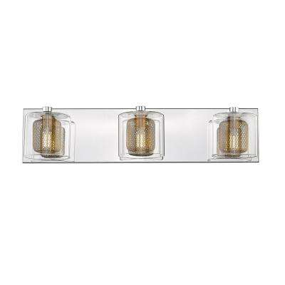 Reese III 3-Light Mirror Stainless Steel with Bronze Shade LED Vanity Light Bar