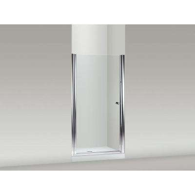 Fluence 36-1/2 in. x 65-1/2 in. Semi-Frameless Pivot Shower Door in Bright-Silver with Handle