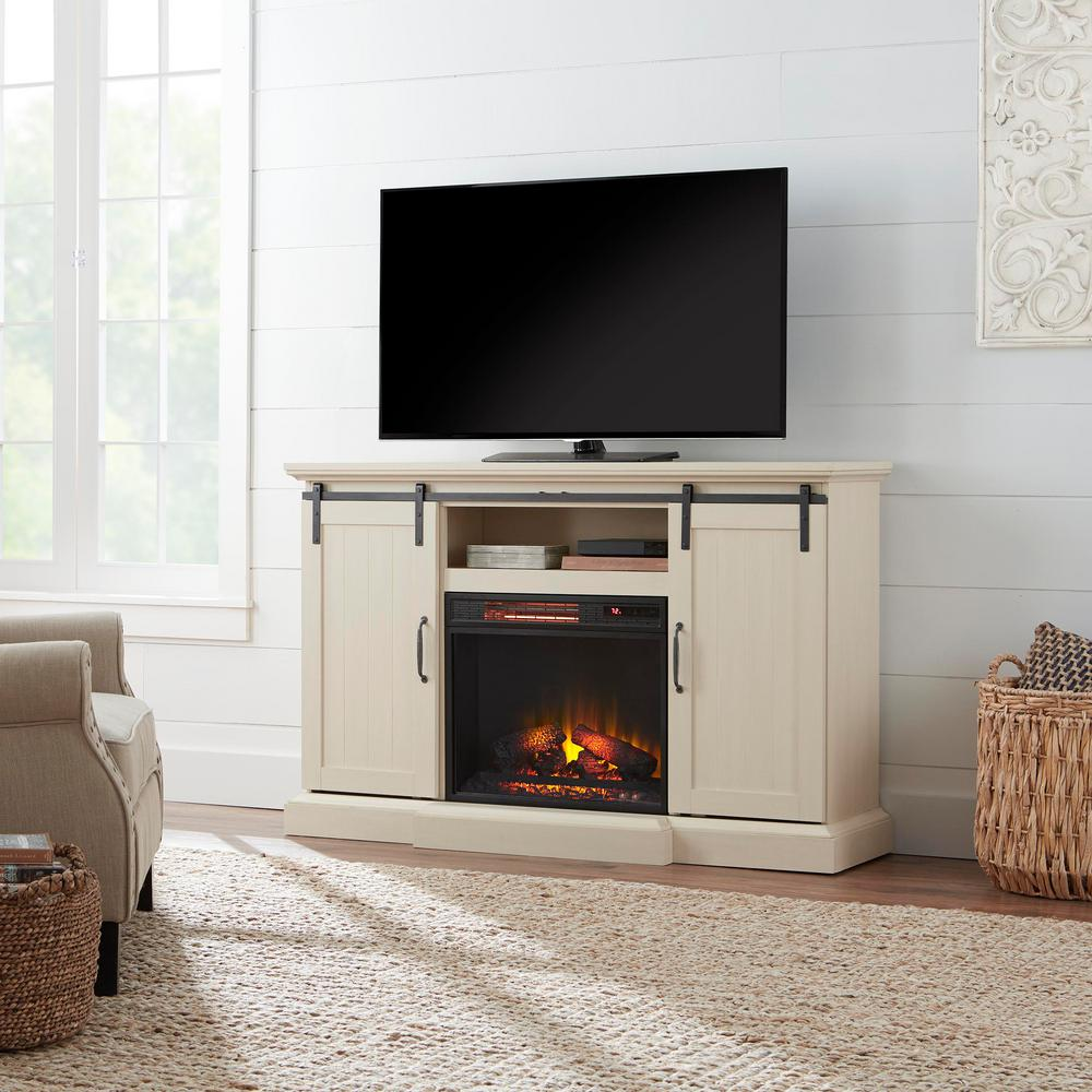 HomeDecoratorsCollection Home Decorators Collection Chastain 56 in. Freestanding Media Console Electric Fireplace TV Stand with Sliding Barn Door in Ivory