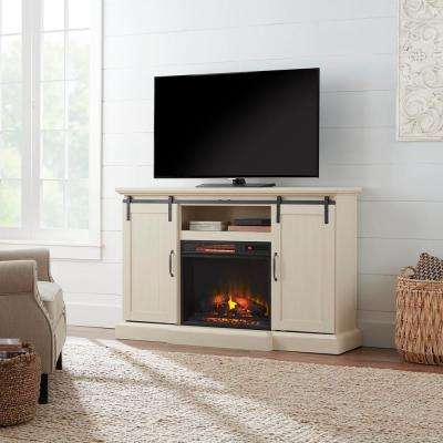 Chastain 56 in. Freestanding Media Console Electric Fireplace TV Stand with Sliding Barn Door in Ivory