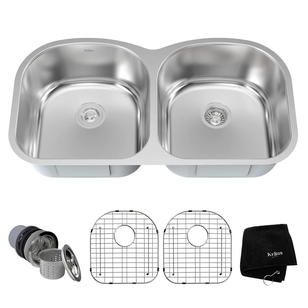 Drop-In/Undermount Stainless Steel 39 in. Double Bowl Kitchen Sink Kit