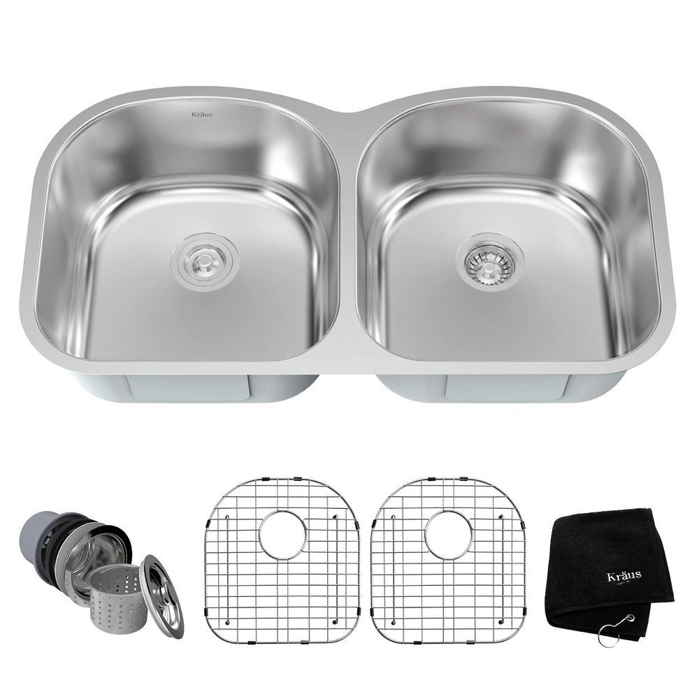 Drop-In/Undermount Stainless Steel 39 in. Double Bowl Kitchen Sink Kit