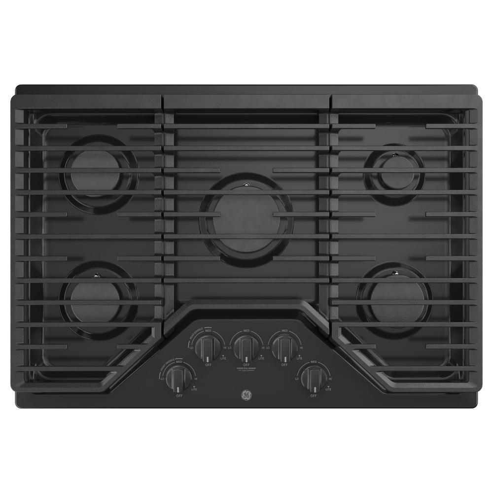 GE 30 in. Gas Cooktop in Black with 5-Burners including Power Burners GE Appliances provide up-to-date technology and exceptional quality to simplify the way you live. With a timeless appearance, this family of appliances is ideal for your family. And, coming from one of the most trusted names in America, you know that this entire selection of appliances is as advanced as it is practical. Color: Black.
