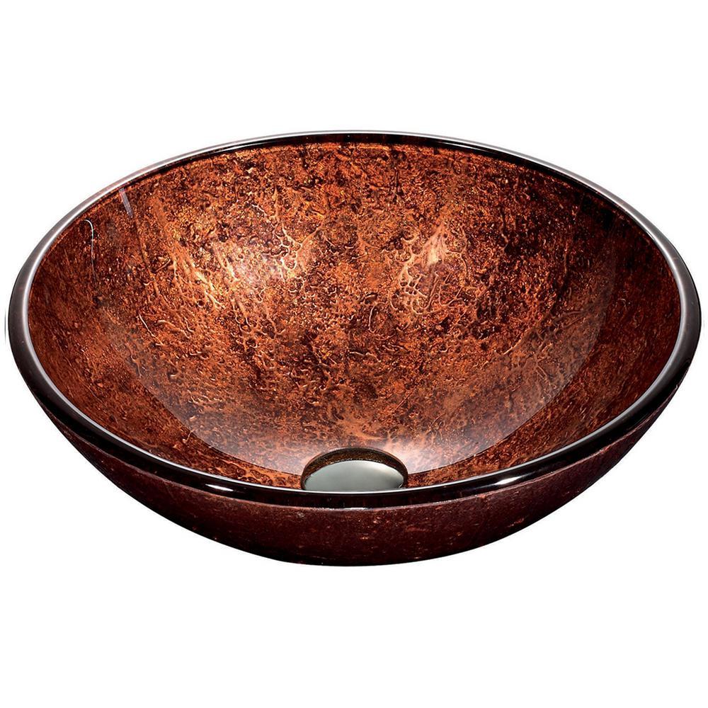 Vigo Mahogany Handmade Countertop Glass Round Vessel Bathroom Sink In Copper
