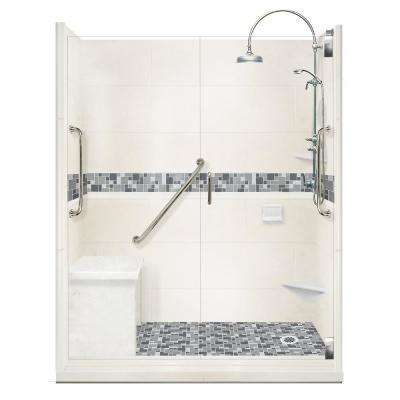 Newport Freedom Luxe Hinged 34 in. x 60 in. Right Drain Alcove Shower in Natural Buff and Satin Nickel Faucet/Hardware