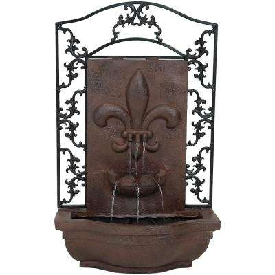 French Lily Resin Iron Solar Outdoor Wall Fountain