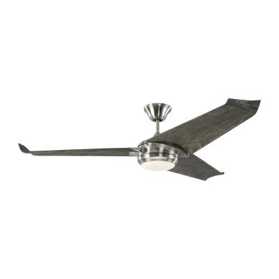 Orville 60 in. Integrated LED Indoor/Outdoor Brushed Steel Ceiling Fan with Light Grey Weathered Oak Blades and Remote
