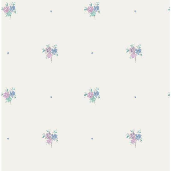 Wallquest Kids Little Posy Periwinkle and Lilac Floral Wallpaper FA41509