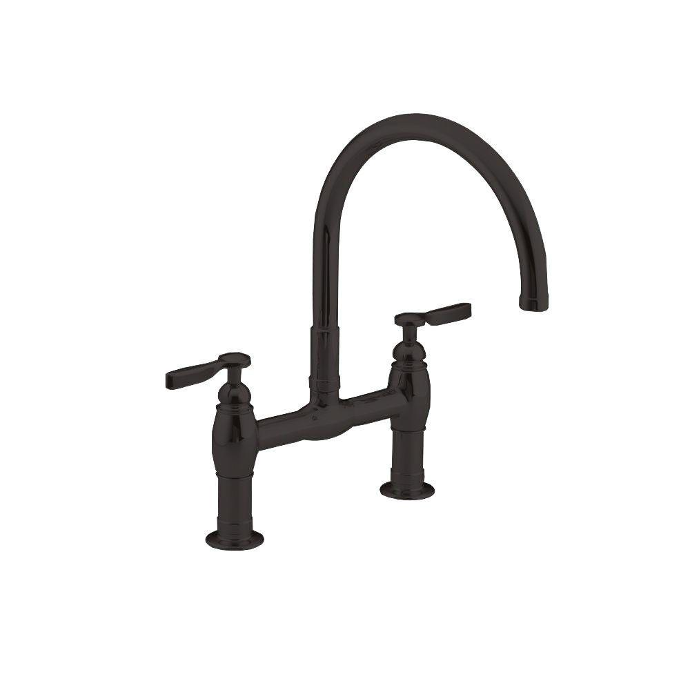 KOHLER Parq 2-Handle Bridge Kitchen Faucet in Oil-Rubbed Bronze