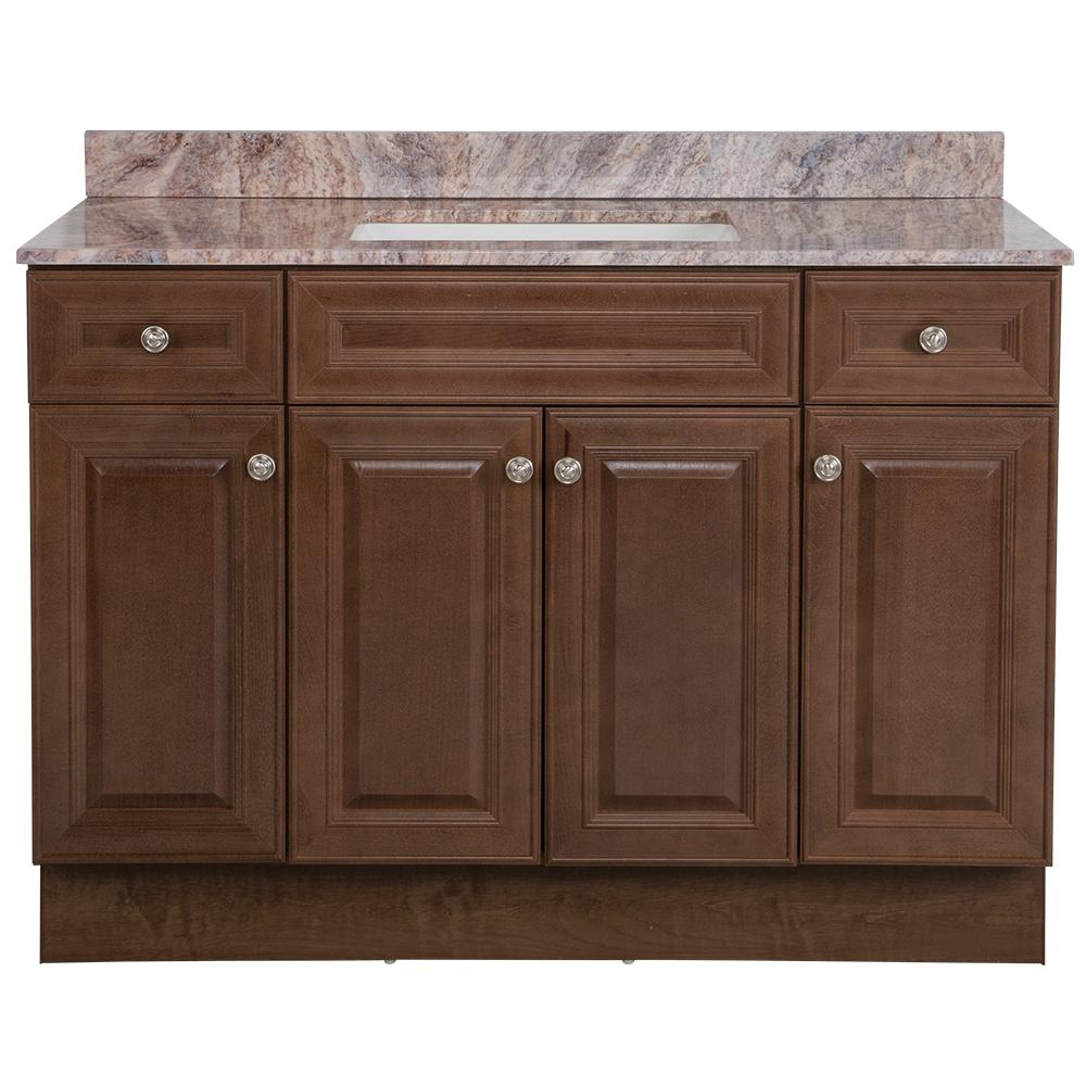Glacier Bay Glensford 49 in. W x 22 in. D Bath Vanity in Butterscotch with Stone Effects Vanity Top in Cold Fusion with White Sink