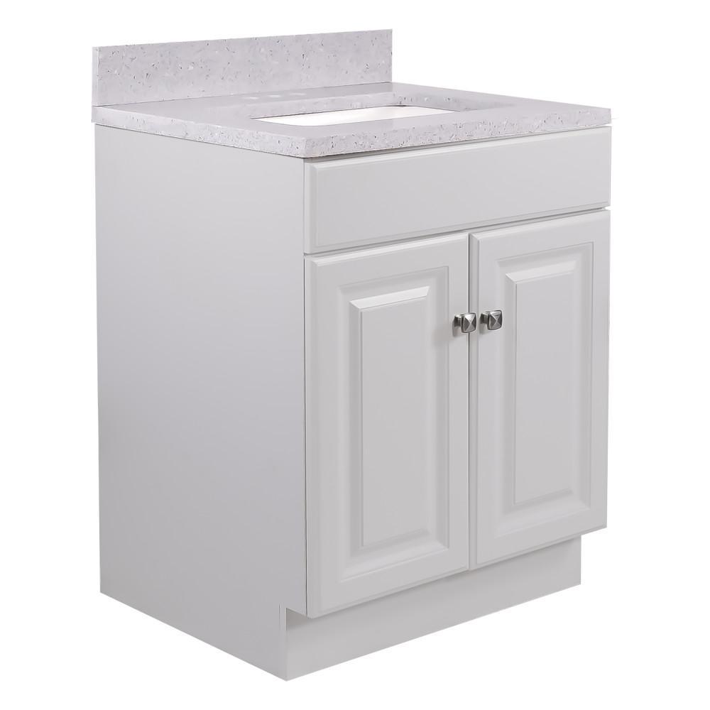 24 in. x 21 in. x 31.5 in. 2-Door Bath Vanity in White w/ 4 in. Centerset Flint Quartz Vanity Top w/ Basin in White