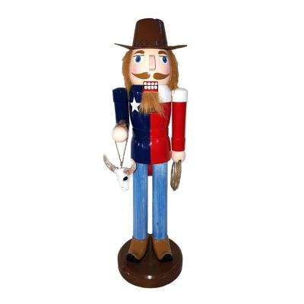 14 in. Texas Cowboy Nutcracker with Longhorns
