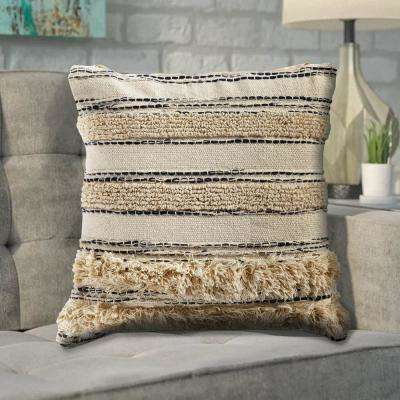 Zanthia Black and Natural Striped Hypoallergenic Polyester 20 in. x 20 in. Throw Pillow