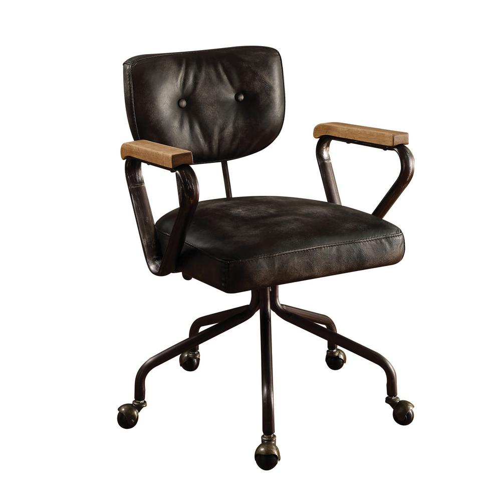 ACME Hallie Vintage Black Top Grain Leather Office Chair