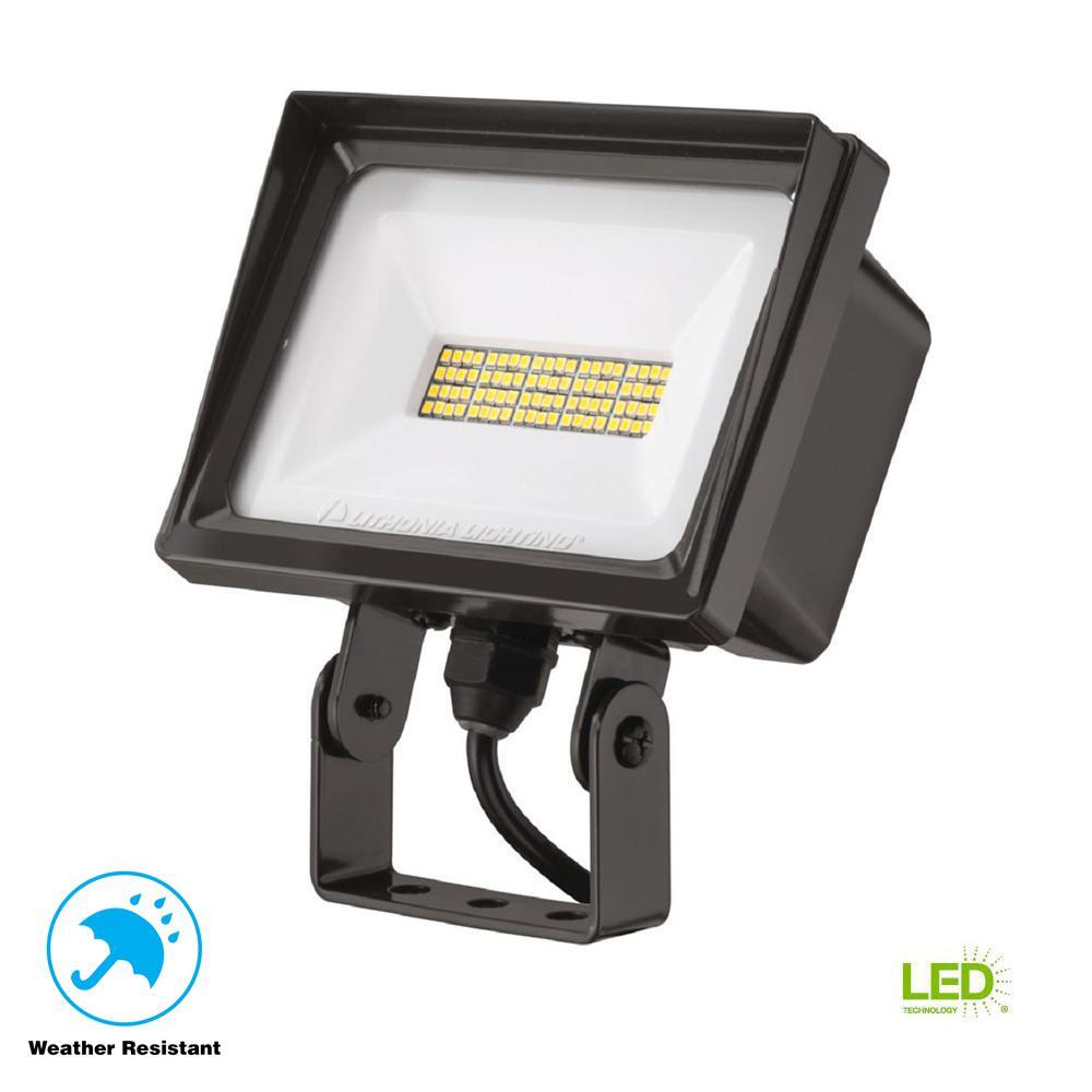 QTE 40-Watt Bronze Outdoor Integrated LED Flood Light
